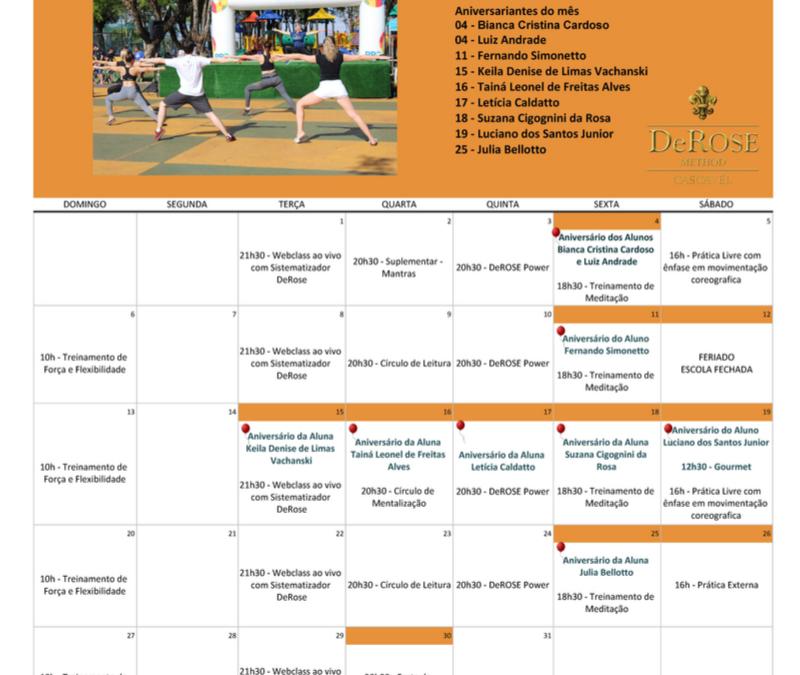 Calendário do mês de outubro